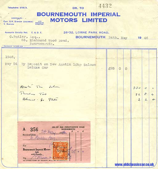 Receipt for the Austin 10