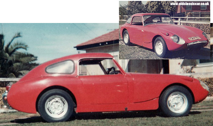 Photos of the red Austin Healey car