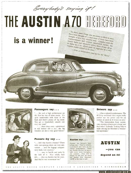 Advert for the A70 Hereford car