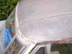 Austin A90 vinyl roof before stripping