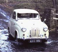 A two-door Austin A35 car