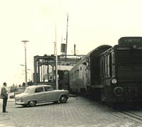 An Austin Cambridge car at the docks