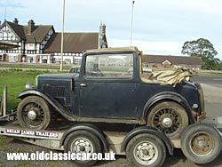 Austin 10 Cabriolet on the trailer