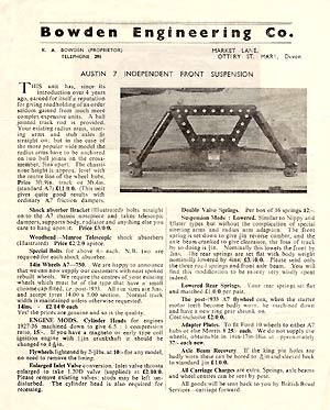 Independent Front Suspension leaflet from Bowden
