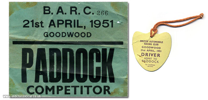 Goodwood competitor's paddock pass for a race in 1951