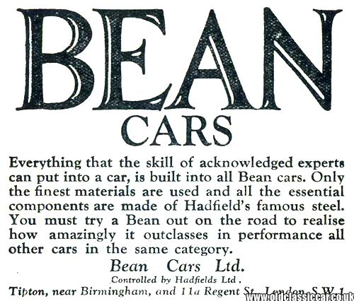 Advertisement for Bean cars