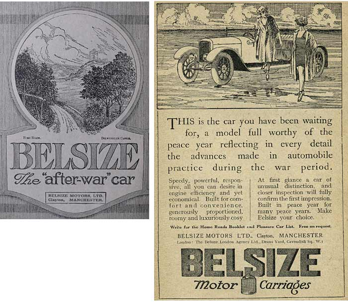 Two period advertisements for the Belsize car