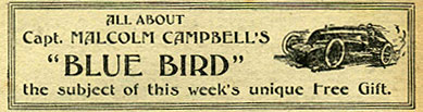 Article about Campbell's Blue Bird car