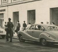 Photo of a BMW 501 in a street