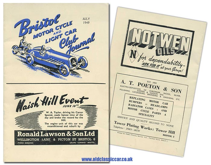 Magazine for the Bristol Motor Cycle and Light Car Club in 1949