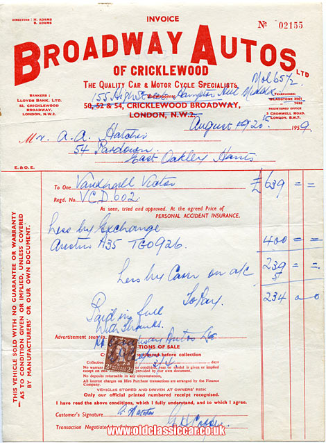 Invoice for a Vauxhall car
