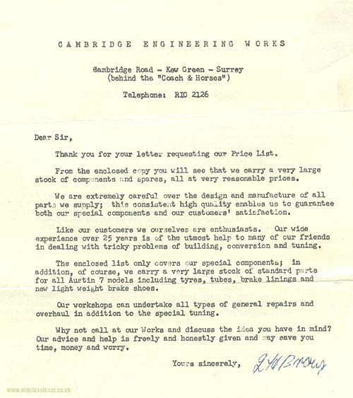 A letter from Cambridge Engineering in 1958