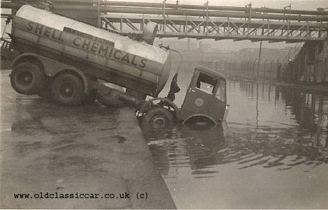 Lorry dives into a river