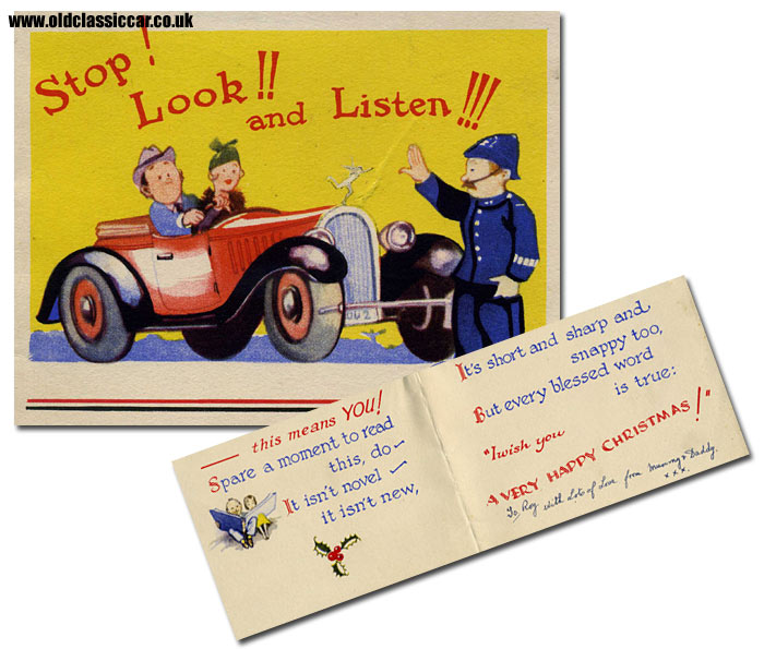 Vintage car on this old card