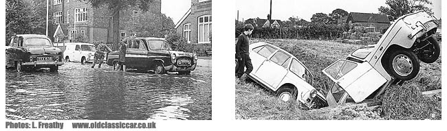 cars caught in floodwaters