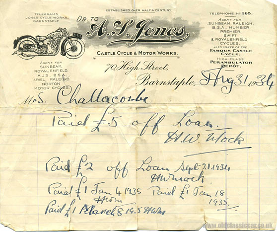 Letterhead for the Castle Cycle and Motor Works in Barnstaple