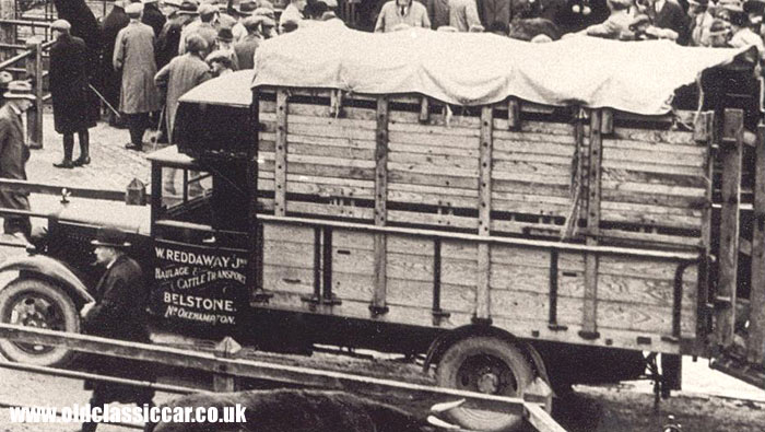 A cattle lorry in a market