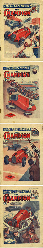 Scenes of motor races on covers of The Champion