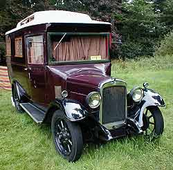 A camper built on a 1920s Austin chassis