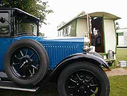 Historic car and caravan seen at Goodwood
