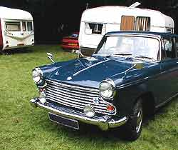 A BMC Morris Oxford on a caravan club stand