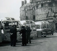 Coaches outside Edinburgh Castle