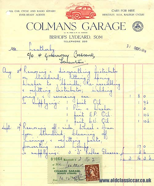 A garage invoice from 1956