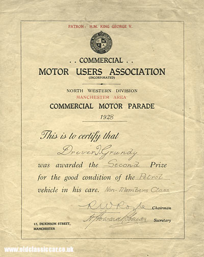 Lorry driver's association certificate