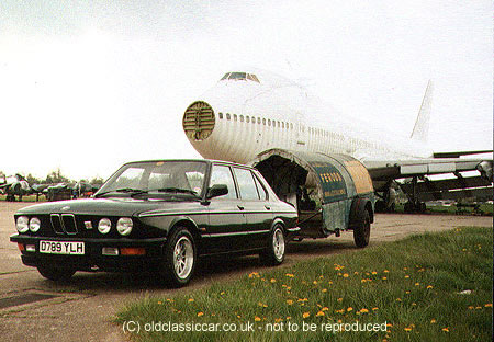 BMW in front of ex-Air France Boeing 747 at Bruntingthorpe c1995, the jumbo later being used to destructive bomb testing!