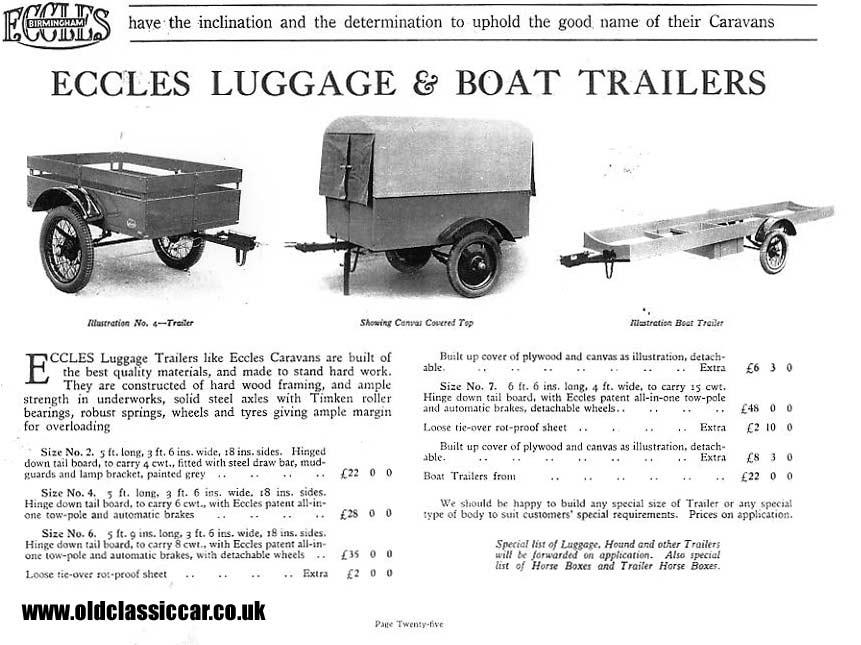 Vintage trailers 1920s-1960 car trailer.