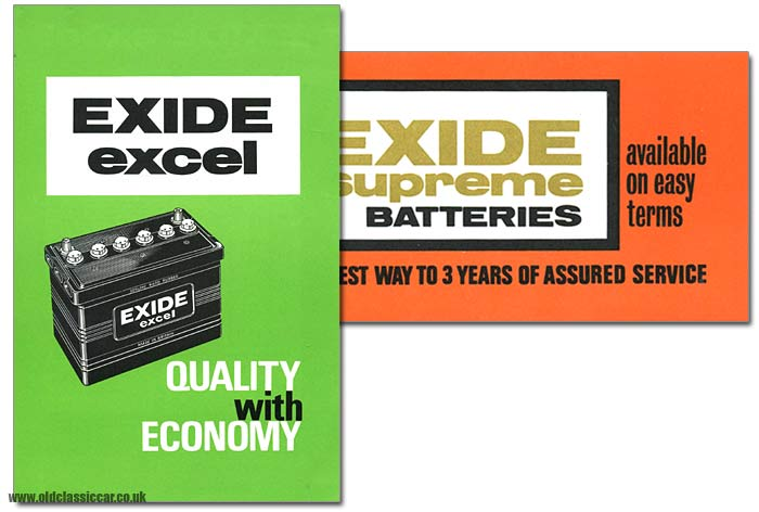 Exide car batteries in 1960s