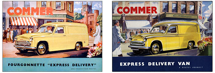 English and French Commer van brochures