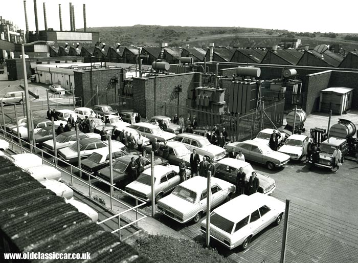 Vauxhalls outside the factory