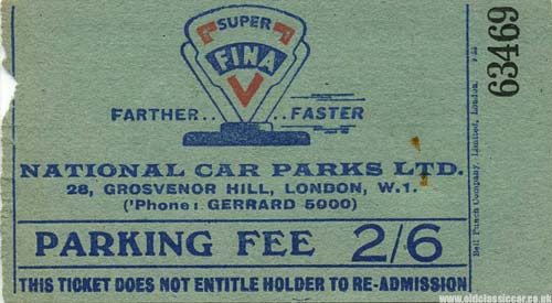 Fina fuels advertise on this parking ticket