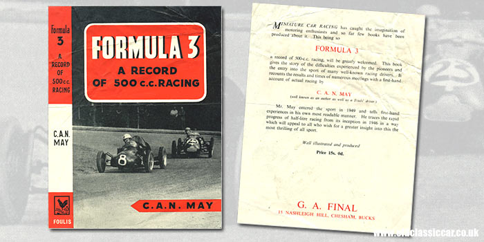 A book by C.A.N. May on Formula 3 500cc car racing