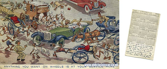 A garage postcard for 1945