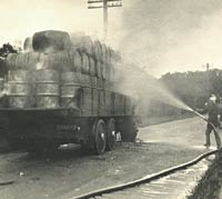 Rear view of the Garrett lorry on fire