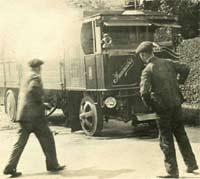 Garrett steam lorry on fire