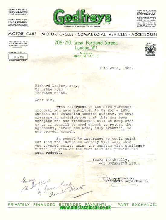 Letter regarding a Sunbeam sent by agent Godfrey's Limited