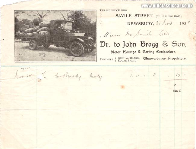 Old lorry on a 1920s invoice