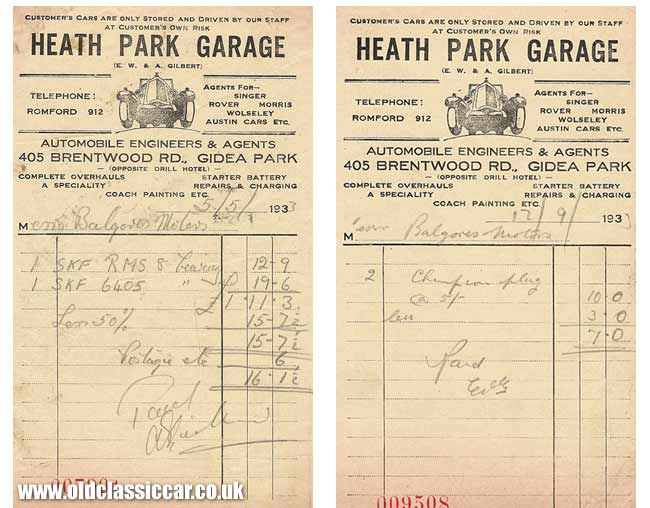 Billhead for Heath Park Garage