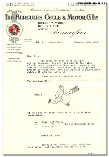 Letter from the Hercules bicycle factory