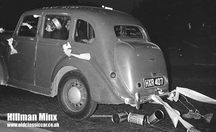Hillman Minx heads off on the honeymoon