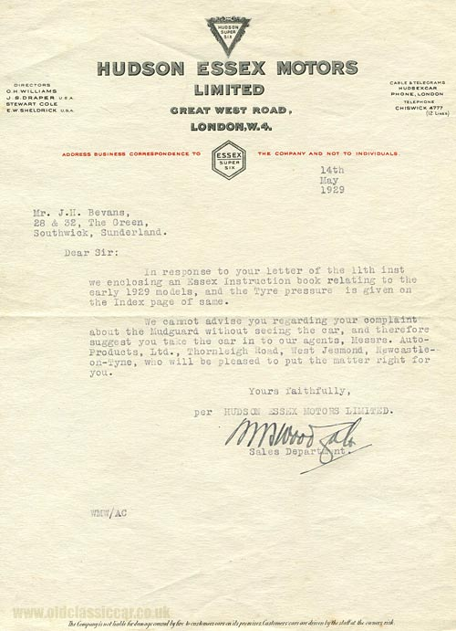 A letter from Hudson Essex Motors in 1929