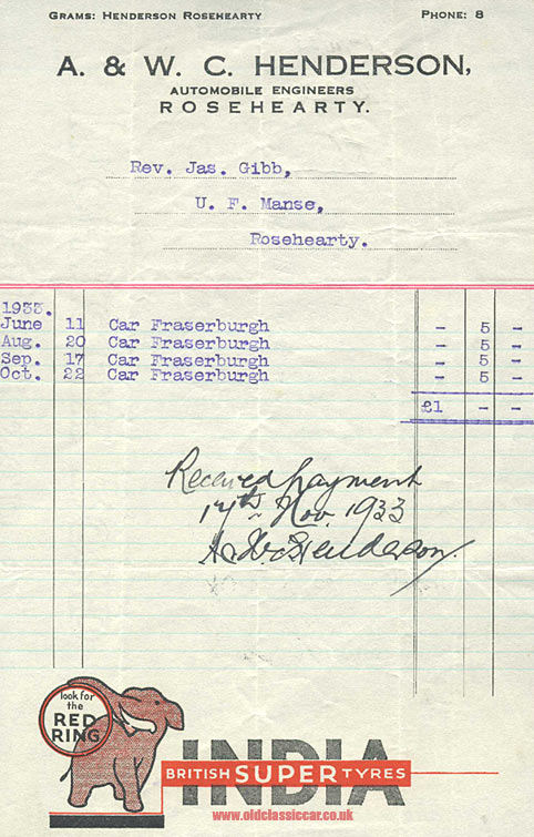Old motor engineer's invoice from 1933 feat. India Tyres