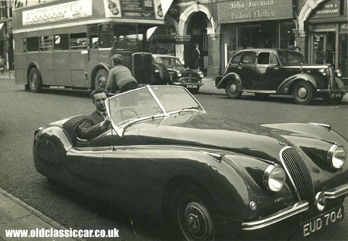 a British Racing Green XK120