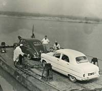 The Jowett Javelin on board a car ferry
