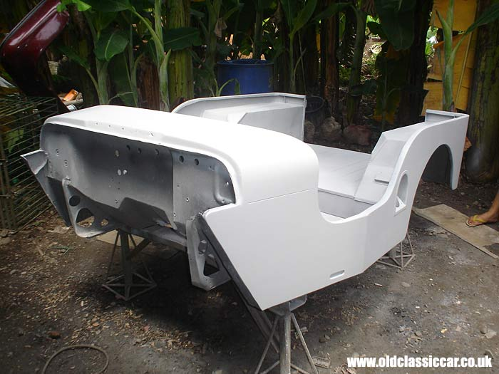 The restored bodyshell for the CJ-3A