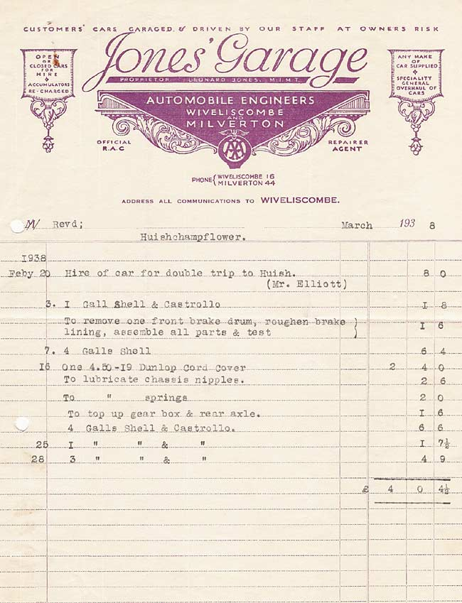 Jones Garage invoice from 1938