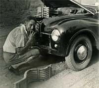 A Jowett Javelin car requiring repair